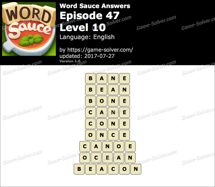 Word Sauce Episode 47-Level 10 Answers