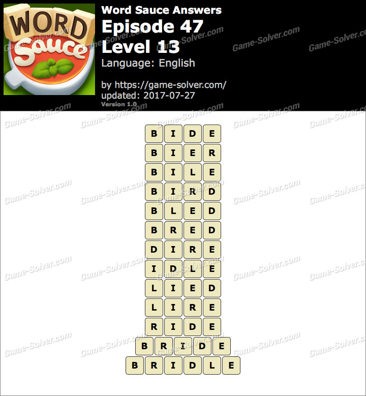 Word Sauce Episode 47-Level 13 Answers