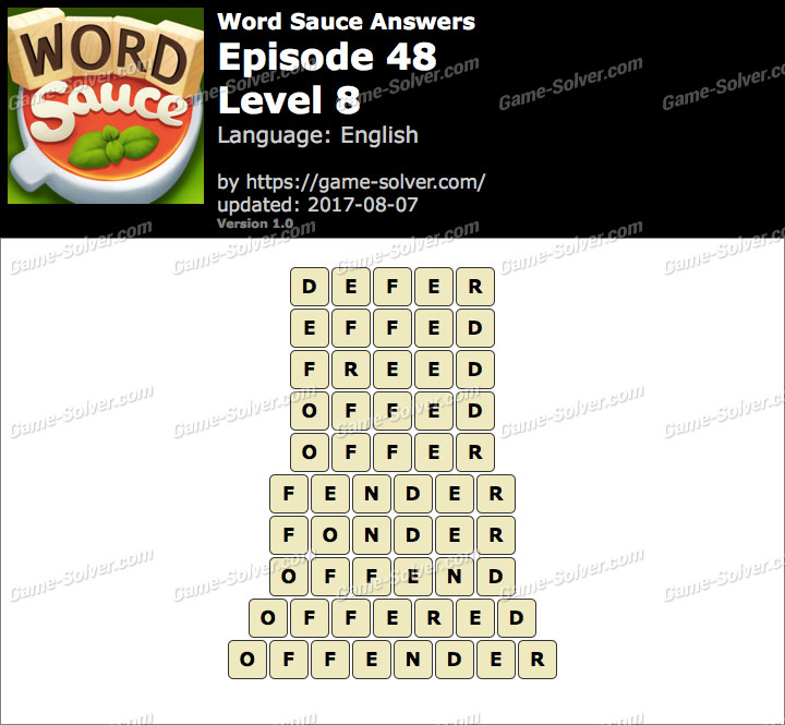 Word Sauce Episode 48-Level 8 Answers