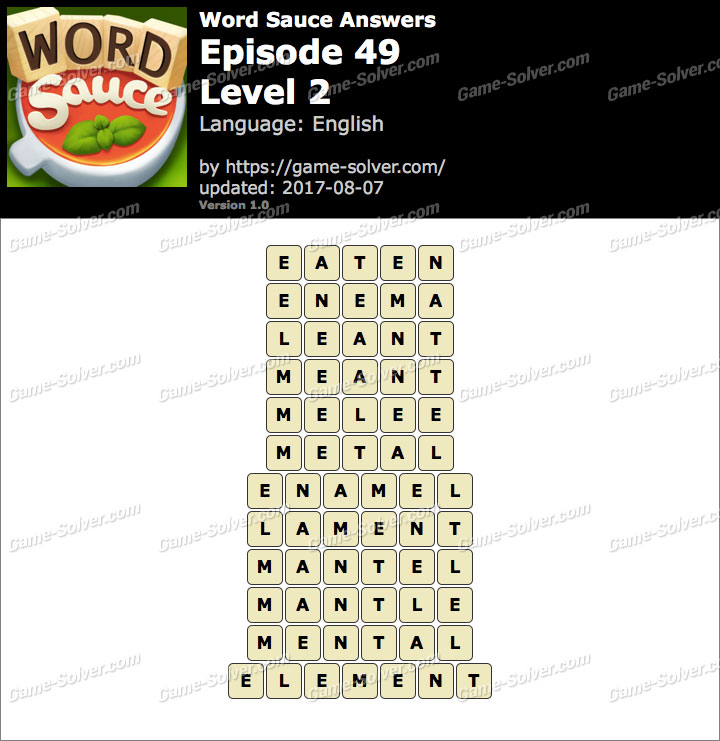 Word Sauce Episode 49-Level 2 Answers