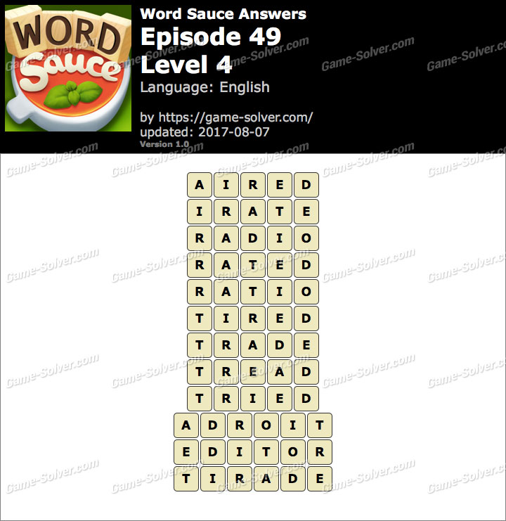 Word Sauce Episode 49-Level 4 Answers