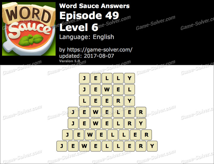 Word Sauce Episode 49-Level 6 Answers