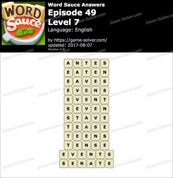 Word Sauce Episode 49-Level 7 Answers