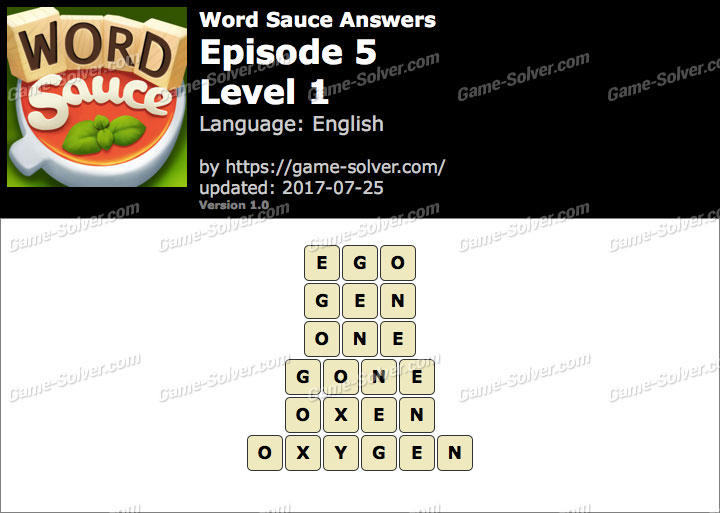 Word Sauce Episode 5-Level 1 Answers