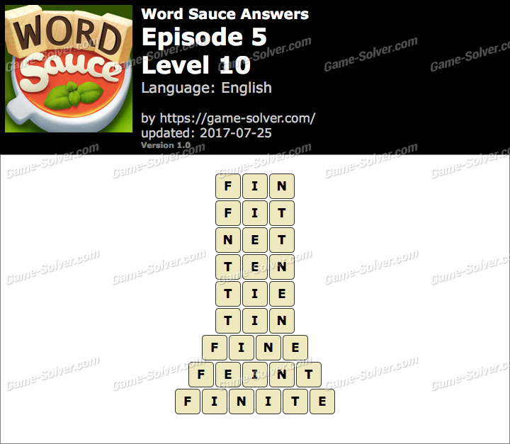 Word Sauce Episode 5-Level 10 Answers
