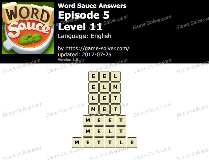 Word Sauce Episode 5-Level 11 Answers
