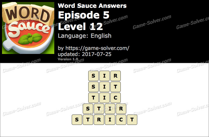 Word Sauce Episode 5-Level 12 Answers