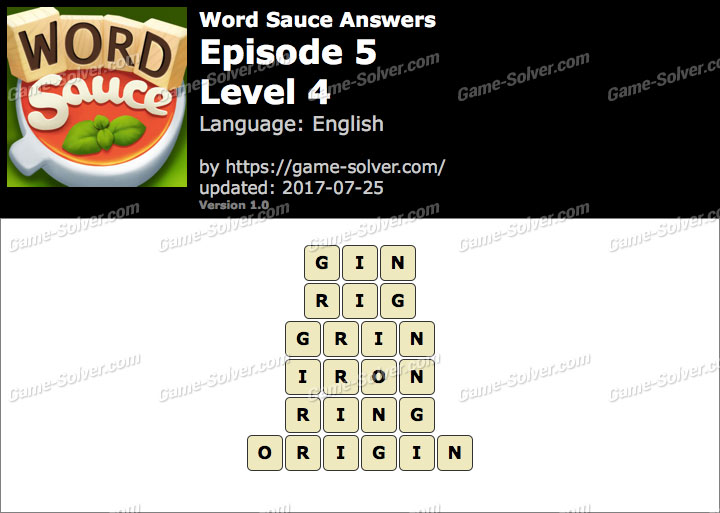 Word Sauce Episode 5-Level 4 Answers