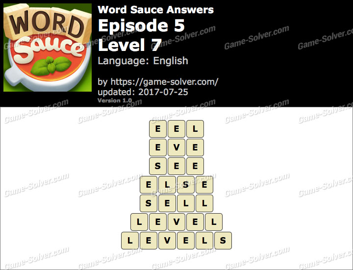 Word Sauce Episode 5-Level 7 Answers