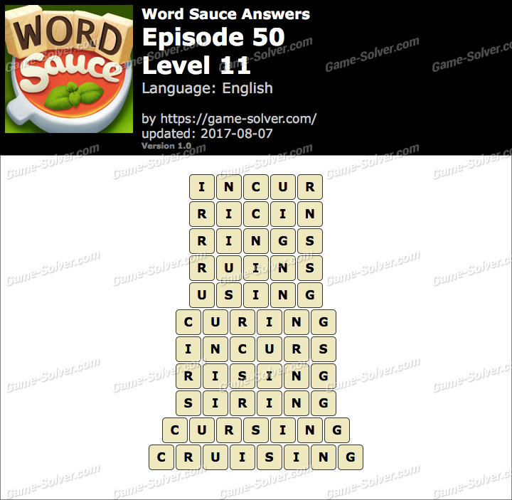 Word Sauce Episode 50-Level 11 Answers