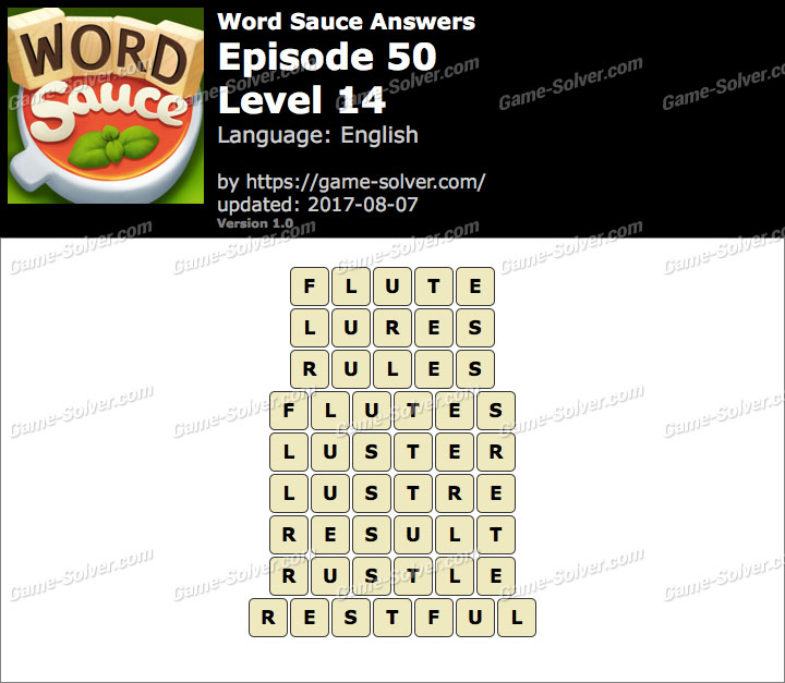 Word Sauce Episode 50-Level 14 Answers