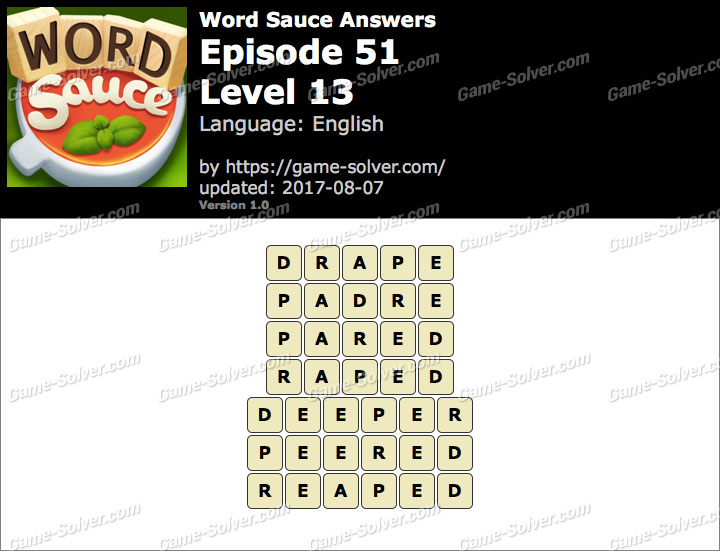 Word Sauce Episode 51-Level 13 Answers