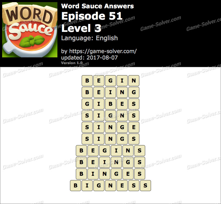 Word Sauce Episode 51-Level 3 Answers