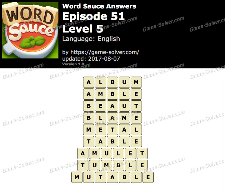 Word Sauce Episode 51-Level 5 Answers
