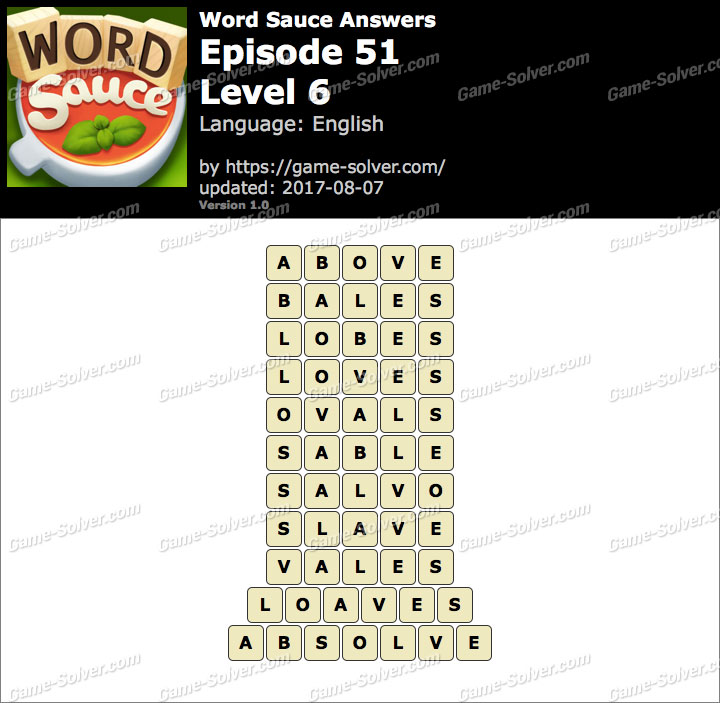 Word Sauce Episode 51-Level 6 Answers
