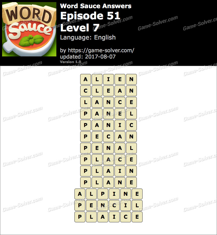 Word Sauce Episode 51-Level 7 Answers