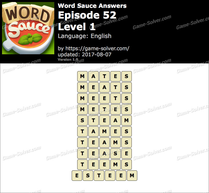 Word Sauce Episode 52-Level 1 Answers