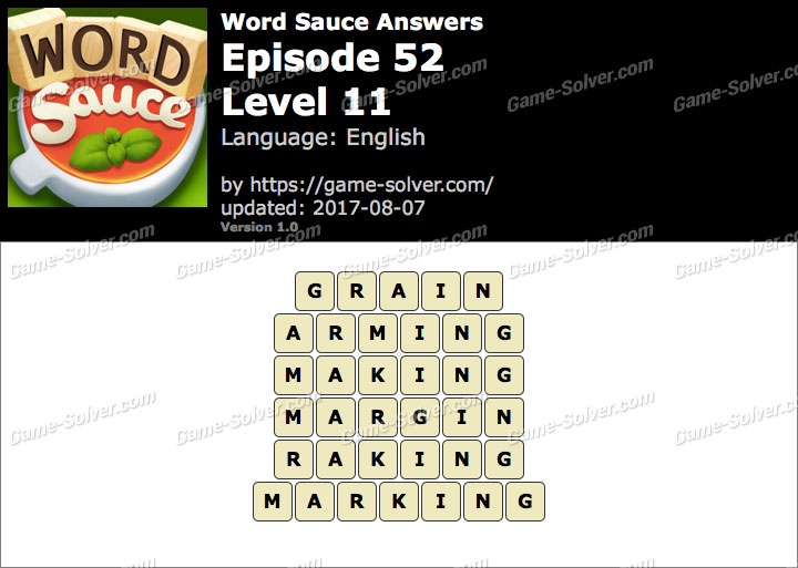 Word Sauce Episode 52-Level 11 Answers