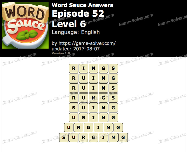Word Sauce Episode 52-Level 6 Answers