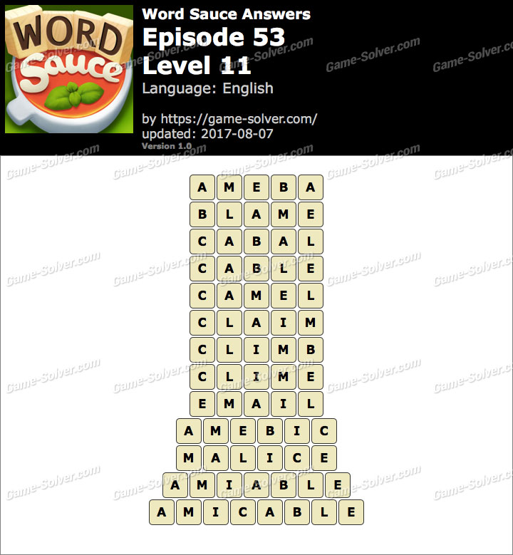 Word Sauce Episode 53-Level 11 Answers