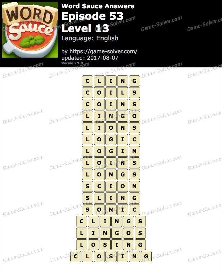 Word Sauce Episode 53-Level 13 Answers