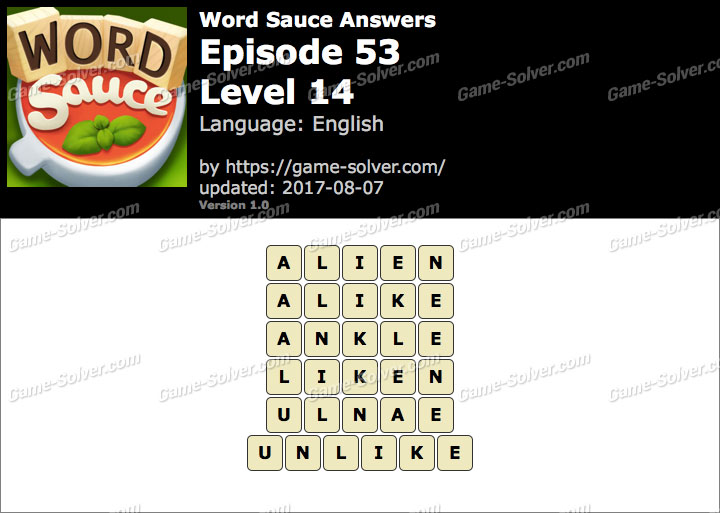 Word Sauce Episode 53-Level 14 Answers