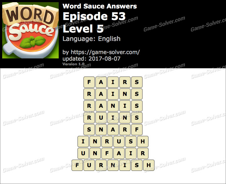 Word Sauce Episode 53-Level 5 Answers