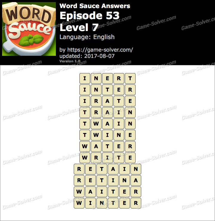Word Sauce Episode 53-Level 7 Answers