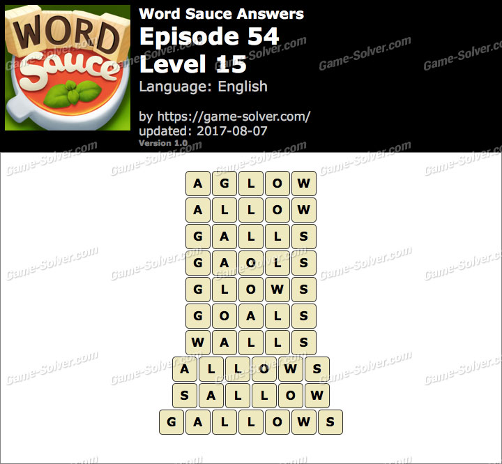 Word Sauce Episode 54-Level 15 Answers