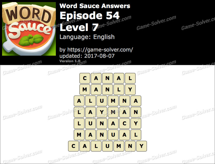 Word Sauce Episode 54-Level 7 Answers