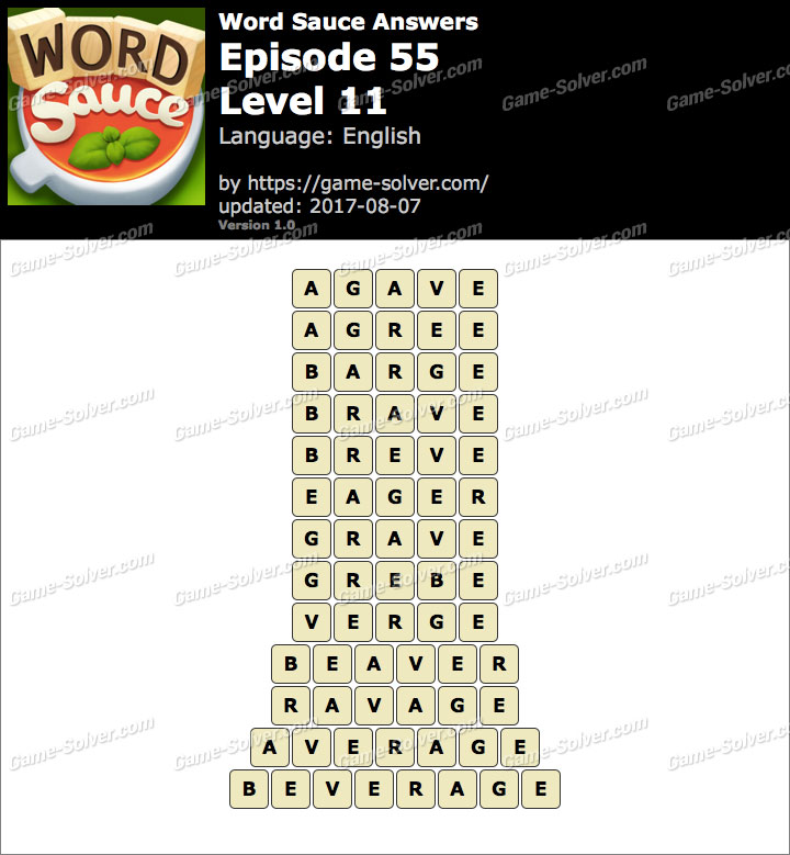 Word Sauce Episode 55-Level 11 Answers