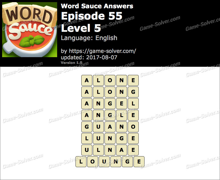 Word Sauce Episode 55-Level 5 Answers