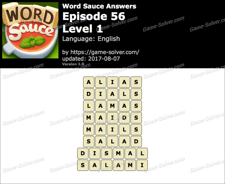 Word Sauce Episode 56-Level 1 Answers