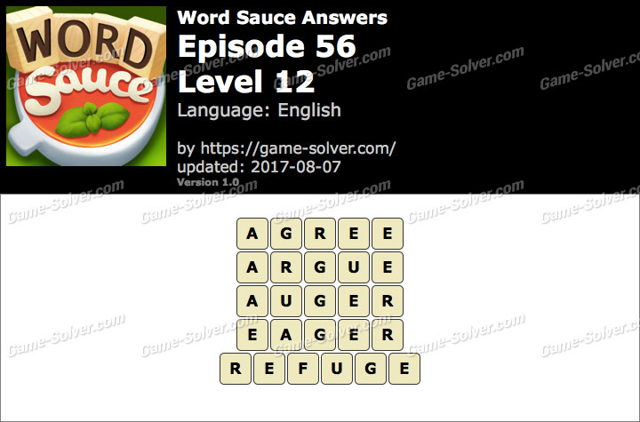 Word Sauce Episode 56-Level 12 Answers