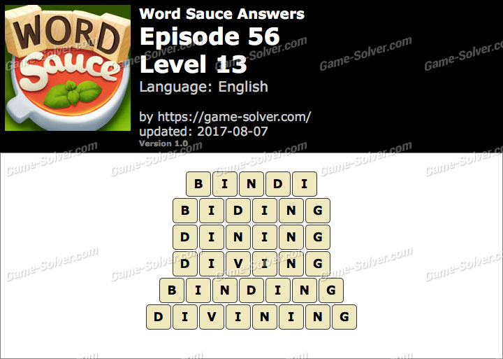 Word Sauce Episode 56-Level 13 Answers