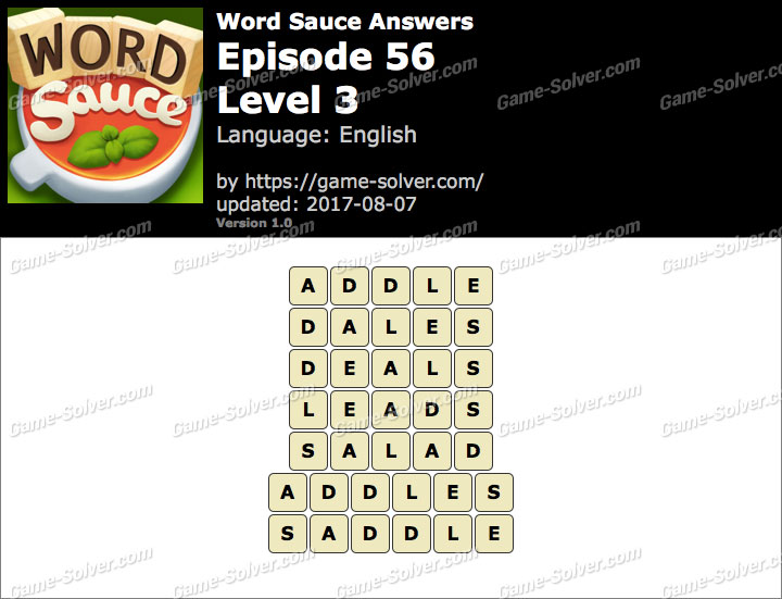 Word Sauce Episode 56-Level 3 Answers