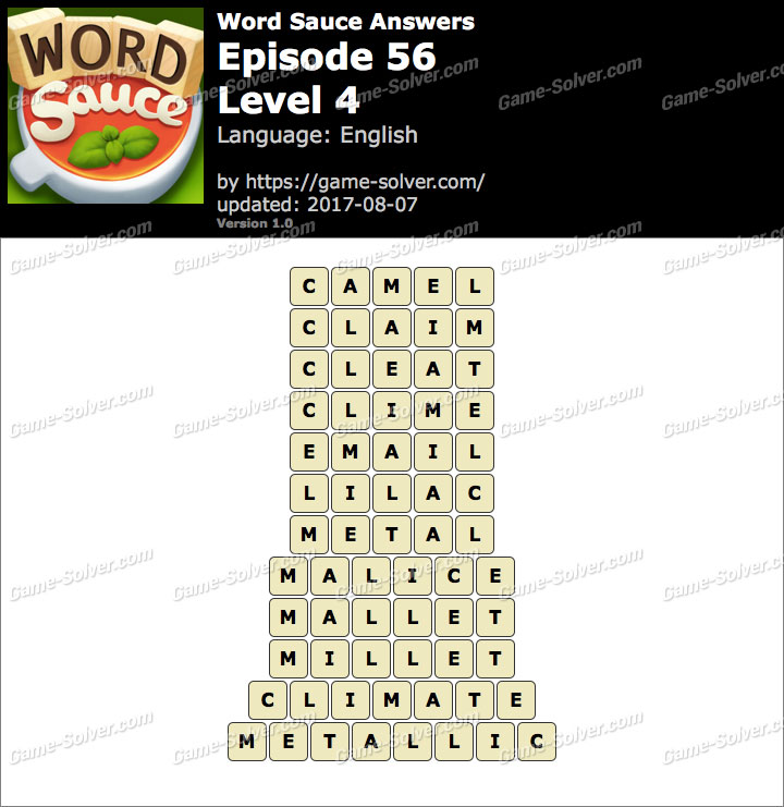 Word Sauce Episode 56-Level 4 Answers