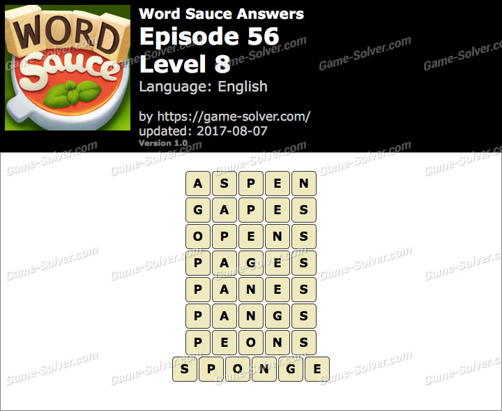 Word Sauce Episode 56-Level 8 Answers