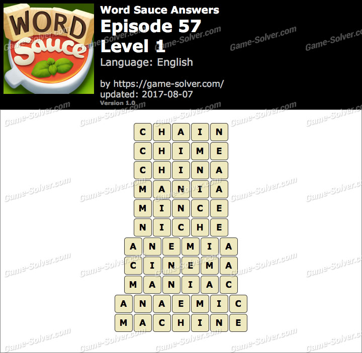 Word Sauce Episode 57-Level 1 Answers