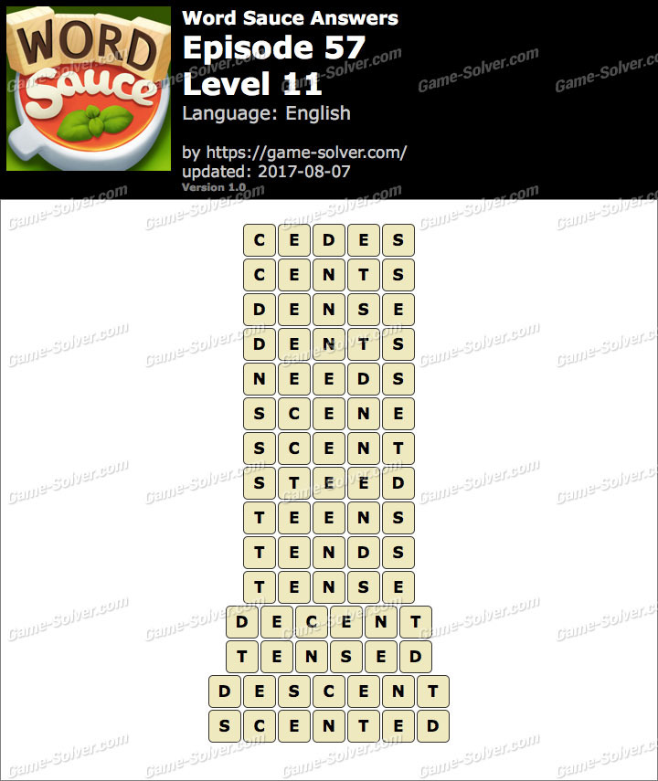 Word Sauce Episode 57-Level 11 Answers