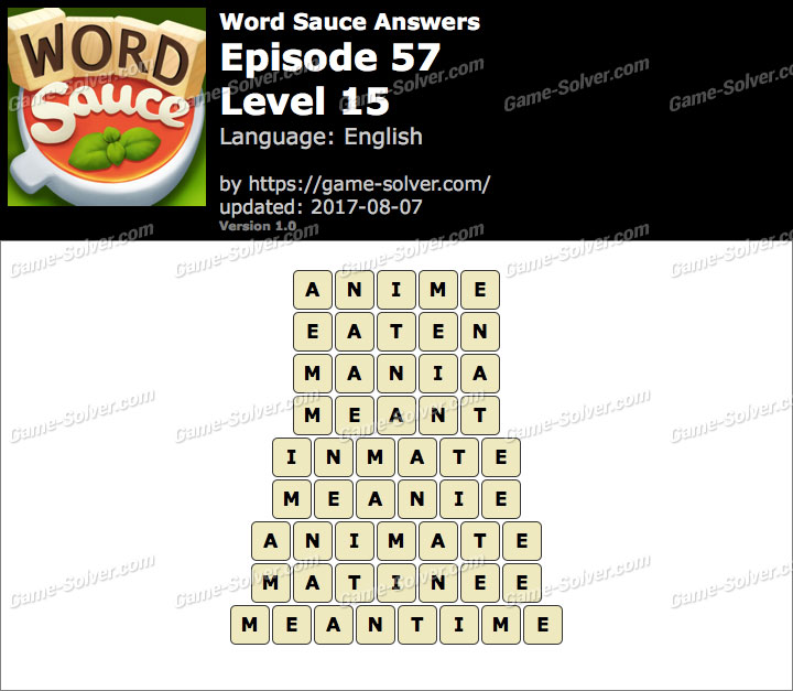 Word Sauce Episode 57-Level 15 Answers