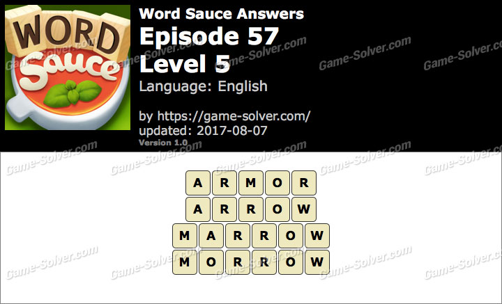 Word Sauce Episode 57-Level 5 Answers