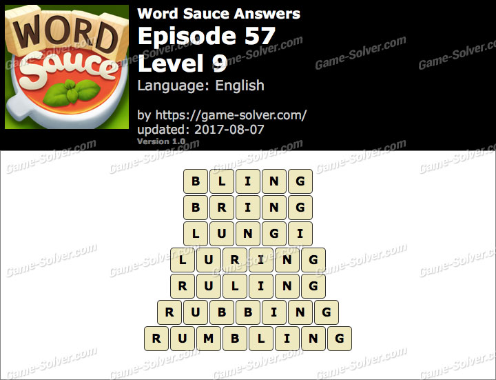 Word Sauce Episode 57-Level 9 Answers