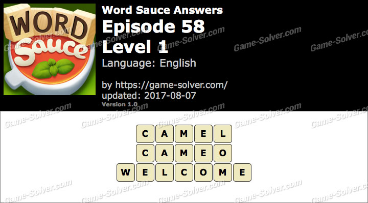 Word Sauce Episode 58-Level 1 Answers