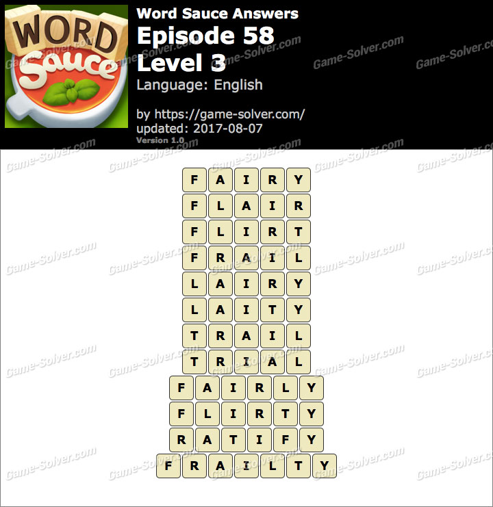 Word Sauce Episode 58-Level 3 Answers