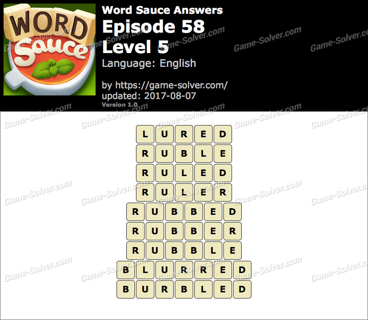 Word Sauce Episode 58-Level 5 Answers