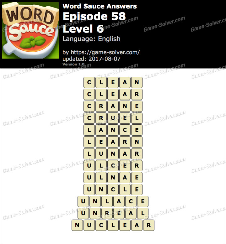 Word Sauce Episode 58-Level 6 Answers