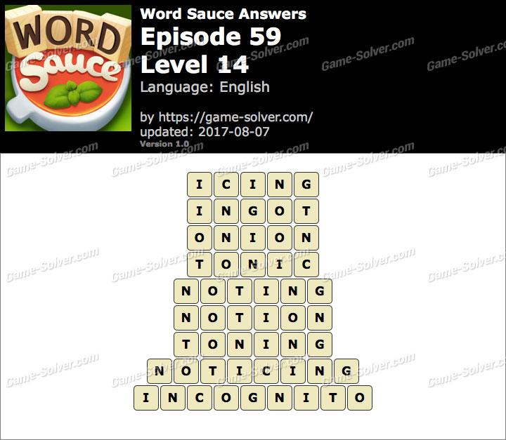 Word Sauce Episode 59-Level 14 Answers