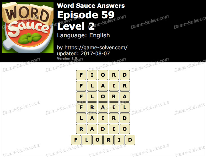 Word Sauce Episode 59-Level 2 Answers