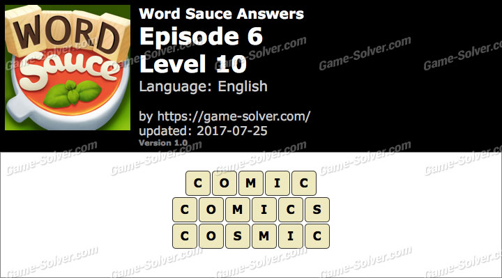 Word Sauce Episode 6-Level 10 Answers